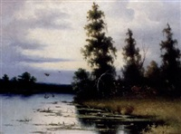 lake at evening by v. bryukvin
