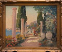 vue des jardins de la villa fontana rosa (3 works) by william lambrecht
