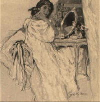 woman in her boudoir by joseph de mers
