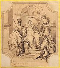 la renommée couronnant une femme assise sur un trône avec à ses côtés l'allégorie de la guerre by jacob de wit