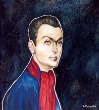 young man with a red scarf by gyula batthyány