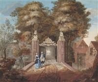 le portail d'entrée d'une grande demeure à oosterbeek près de la haye et calèche et personnages dans un village (pair) by paulus constantijn la (la fargue) fargue