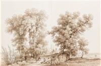 les ormes et un chêne vert dans les pyrénées haute garonne by louis françois lejeune