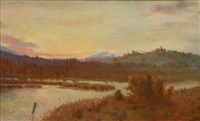 lake and mountains by william charles piguenit