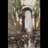 market scene, morocco by frederick john bartram hiles