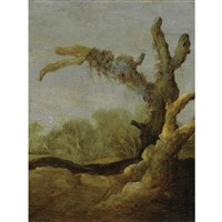 a tree trunk in a landscape by jacob van geel