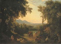 an italianate landscape, with peasants and livestock in the foreground by william linton