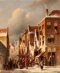 activity in a snow-covered village street by pieter gerardus vertin