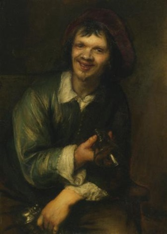 a drinker holding a glass and a pitcher by jan lievens