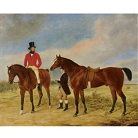 gentleman with a horse and groom by george morley
