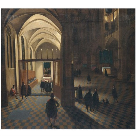 a nocturnal church interior with worshippers gathering for prayer by peeter neeffs the elder