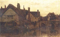punters on a river by a cottage by charles l. saunders