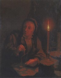 an old woman weighing gold pieces at a table by candlelight by gerard jan palthe