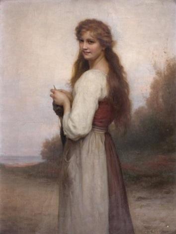 jeune fille à la quenouille by jules cyrille cavé