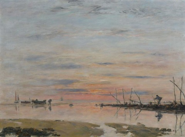 le havre coucher de soleil sur le rivage by eugène boudin