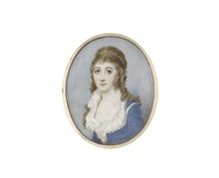 jane grace evans-freke (d.1827), wearing blue dress finished with pearls, frilled white chemise, her hair softly curling and falling over her shoulders by horace hone