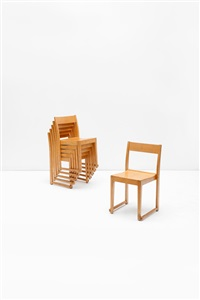 suite de six chaises empilables (set of 6) by sven markelius