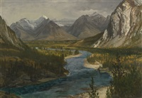 bow river falls, canadian rockies (bow river valley, canadian rockies) by albert bierstadt