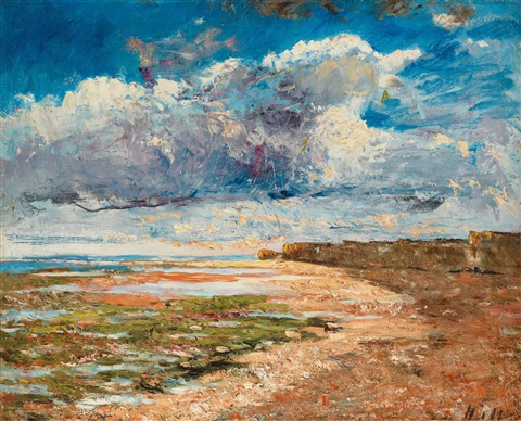 dark clouds over the cliffs luc sur mer by carl fredrik hill