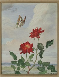 red roses and a butterfly by andrey avinoff