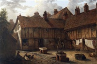 ipswich street scene with figures, chickens etc by edward robert smythe