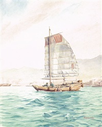 a junk with three crew in hong kong harbour by henry george gandy