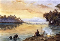 le pêcheur au soleil couchant by adolf methfessel
