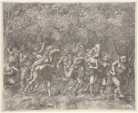 bacchanale in a forest (on 2 attached sheets) by giulio sanuto