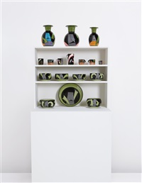 town wares (from the easter island series on a replica town unit) (17 works) by ken price