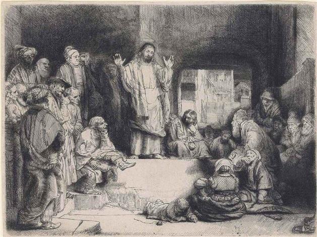 christ preaching la petite tombe by rembrandt van rijn