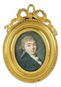 portrait de jeune homme à la redingote bleu-vert et foulard à pois by augustin ritt