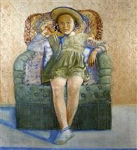 jeune fille assise dans un fauteuil by marcel caron