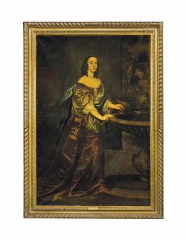 portrait of a lady standing full length in a brown dress with a blue wrap and a pearl choker by an ornate fountain and an orange tree by sir peter lely