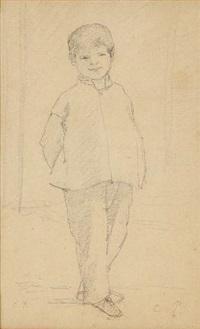 portrait d'enfant debout by camille pissarro
