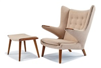 papa chair and ottoman (2) by hans j. wegner