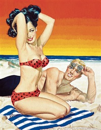 man raising sunglasses to admire beauty in polka-dotted bikini (bk. cover illus. for illicit desires by h.m. appel) by george gross