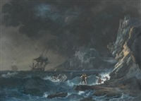 ships on a stormy sea, with figures on the shore by alexandre jean noel