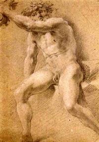 bacchus assis, le bras tourné vers la gauche by michel corneille