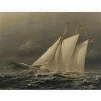 "portrait of the schooner yacht ""coronet"" by franklin bassford"