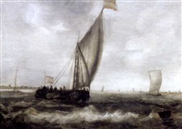 coastal scene with small craft under sail by hans (johan) goderis