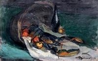 nature morte aux fruits, homard et cuivre by josué gaboriaud