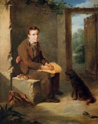 le repas du jeune colporteur et de son chien by nicolas françois octave tassaert