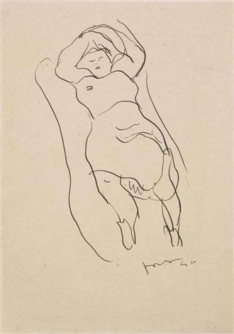 figura femminile sdraiata by lucio fontana