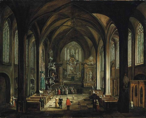 interior of a gothic church with a friar preaching from the pulpit elegant figures conversing in the foreground by hendrick van steenwyck the younger