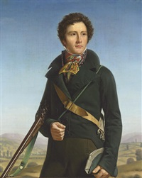 portrait of a gentleman (jean-andré prosper henri le page?) in a green jacket and carrying a rifle by francois henri mulard