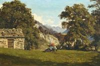 paysanne dans un paysage de montagnes by armand hubert simon leleux