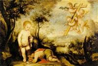 asunto místico con el niño jesus y san juanito by josé antolinez