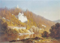 blick auf svjatogorsky kloster an dem fluß donetz in der ostukraine by aleksandr vasil'evich gine