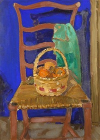 a basket of persimmons on a chair by clarence hinkle