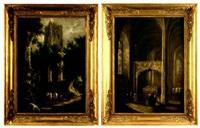 paysage aux ruines gothiques animé de personnages (+ intérieur d'église gothique animé de personnages; 2 works) by henry milbourne